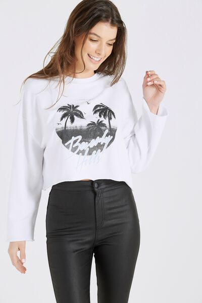 Drop Shoulder Oversized Graphic Raw Hem Sweat, WHITE/BEVERLY HILLS