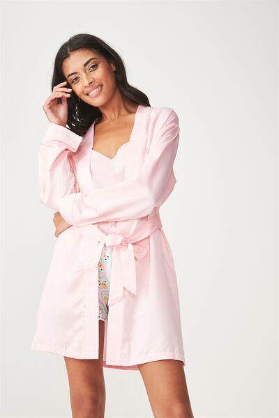 Satin Sleep Robe, PINK/MIDNIGHT