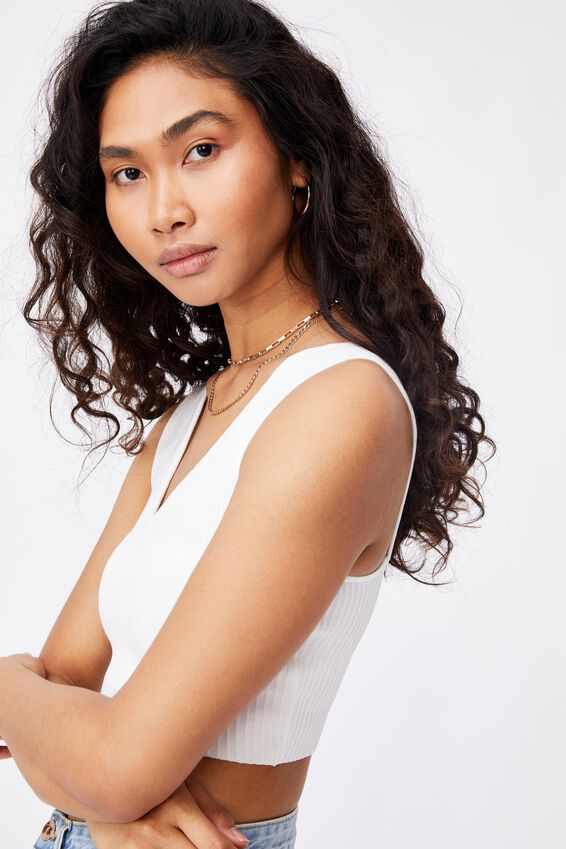 Danica V Neck Knit Top, WHITE