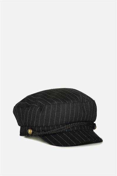 Pin Stripe Tomboy Cap, BLACK/WHITE STRIPE