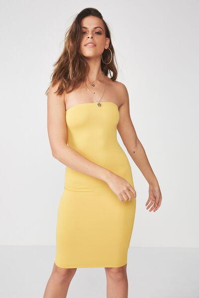 Party Strapless Midi Dress, HONEY