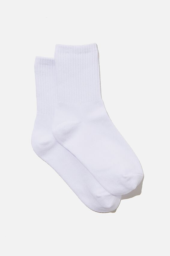 Classic Ribbed Sock, WHITE