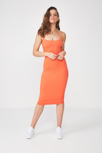 Party Thin Strap Midi Dress, TANGERINE