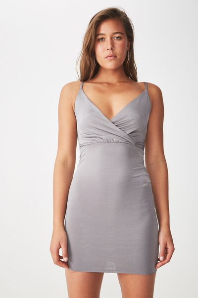 Luxe Shiny Wrap Mini Dress, STEEL GREY