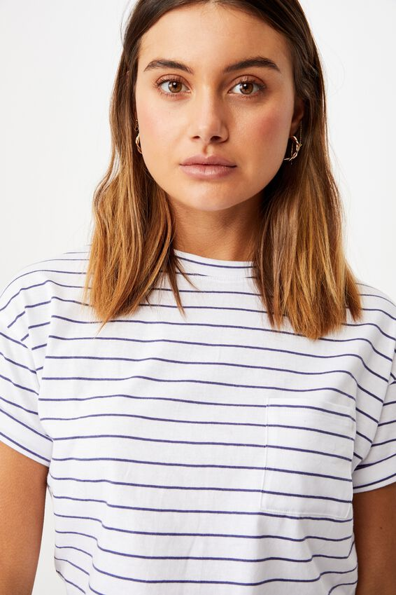 Ciara Crop T-Shirt, LENI STRIPE (WHT/CBLT NVY)