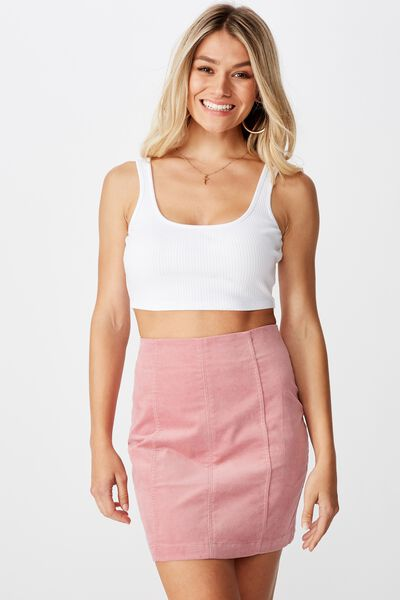 Carrie Cord Panel Mini Skirt, PINK ROUGE