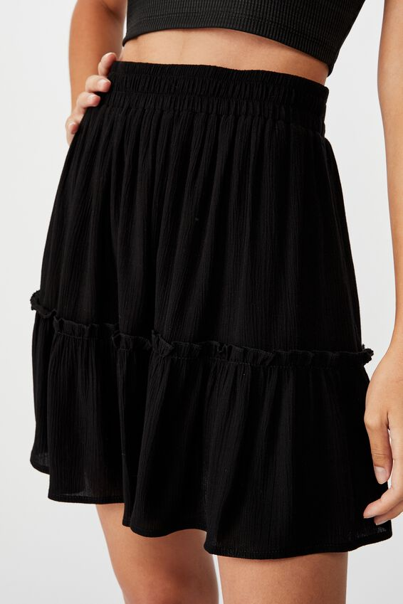 Kaiya Frill Hem Skirt, BLACK