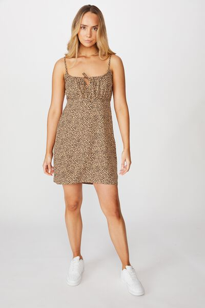 Caroline Tie Front Dress, MINI GIGI LEOPARD BROWN