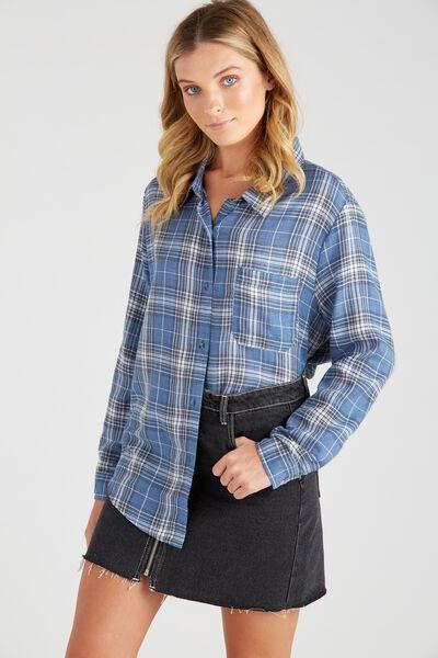 Check Shirt, BLUE TRUCKER CHECK