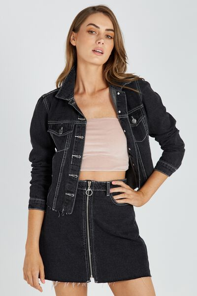 Raw Edge Contrast Crop Denim Jacket, BLACK CONTRAST