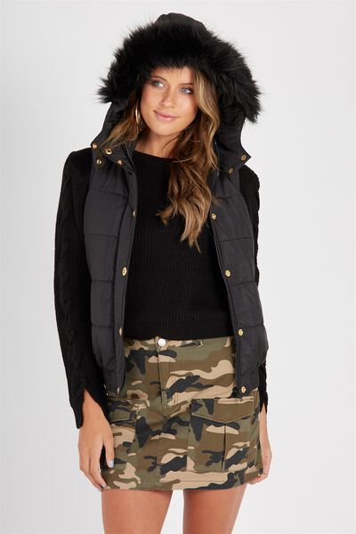 Faux Fur Trim Puffer Vest, BLACK