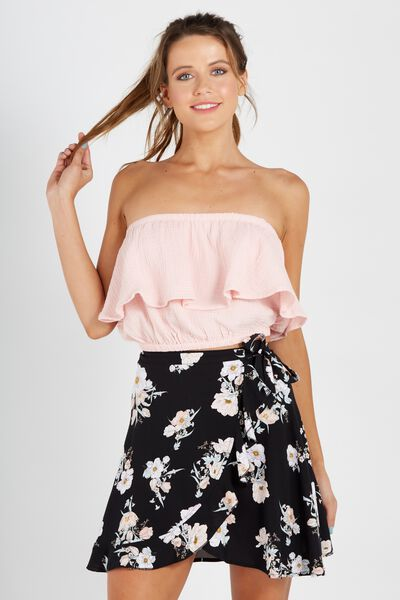Bubble Strapless Top, PINK