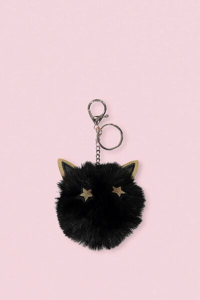 Faux Fur Star Bunny Keyring, BLACK