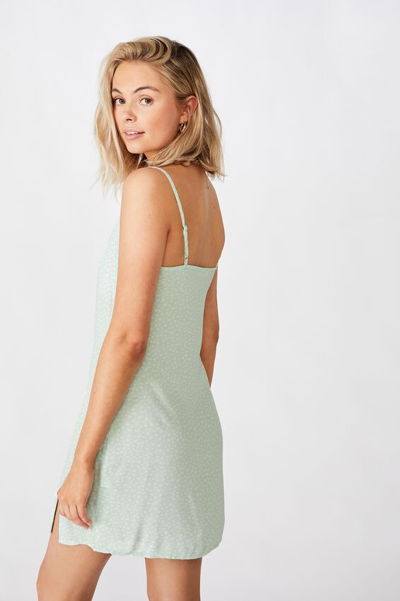 Bella Slip Dress, PEBBLE SPOT MINT