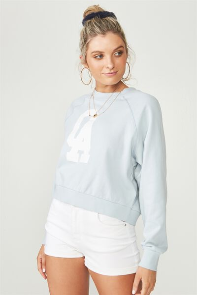 Raglan Cropped Sweat, PALE BLUE/CA