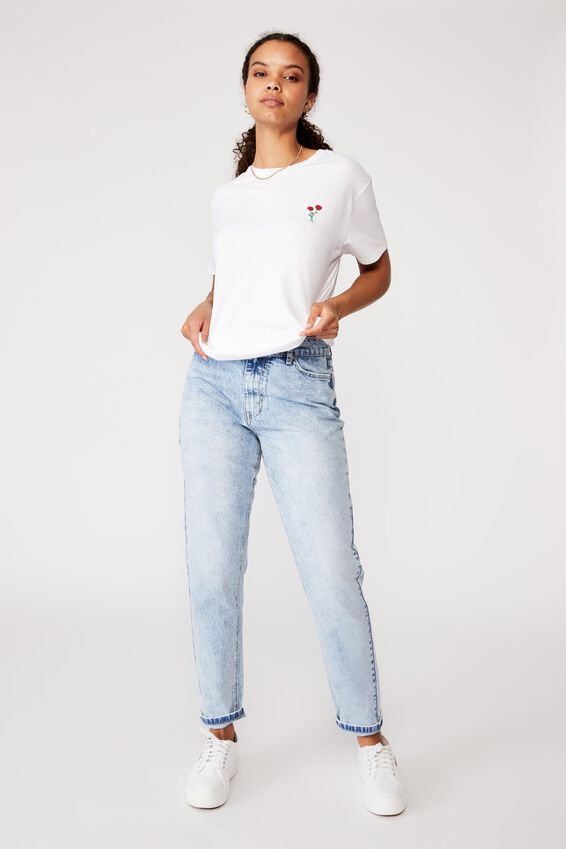 Two Roses Tee, WHITE/ROSES EMB