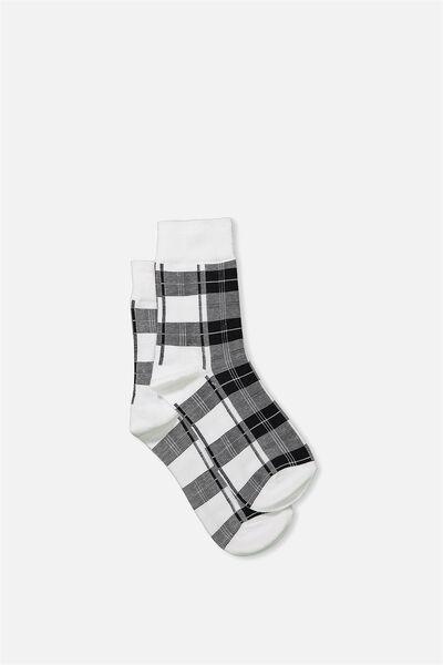 90S Check Socks, WHITE HERITAGE