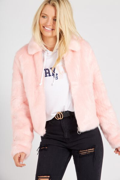 Crop Faux Fur Bomber, PINK