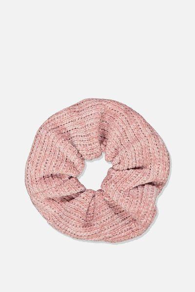 Mini Chenille Scrunchie, ROSE QUARTZ PINK
