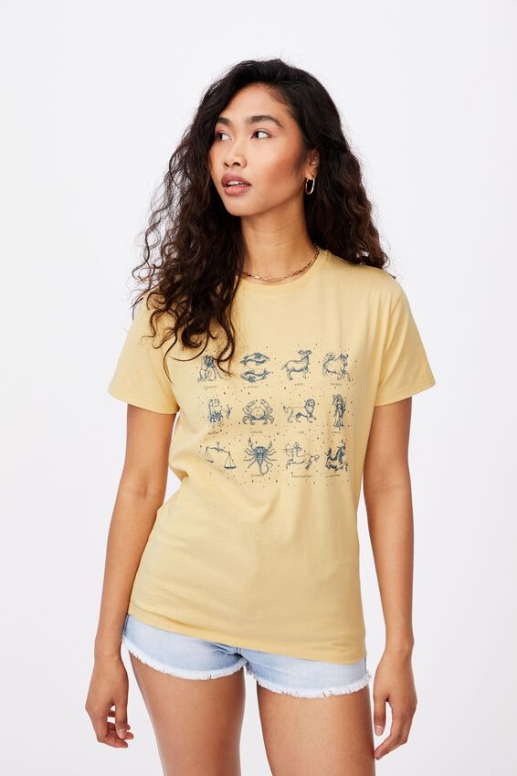 Astrology Longline T Shirt, BUTTERMILK/ASTROLOGY CHART
