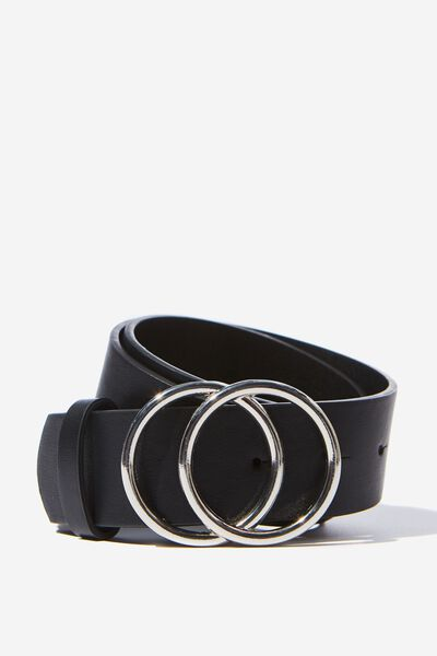 Super Size Double Hoop Belt, BLACK/SILVER
