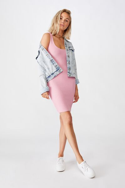 Maggie Square Neck Knit Dress, TICKLE PINK