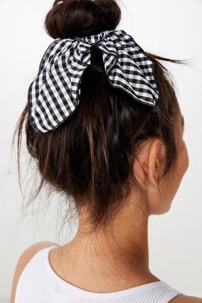 Scarf Scrunchie, BLACK AND WHITE CHECK