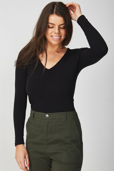 Basic Long Sleeve Deep V Top, BLACK