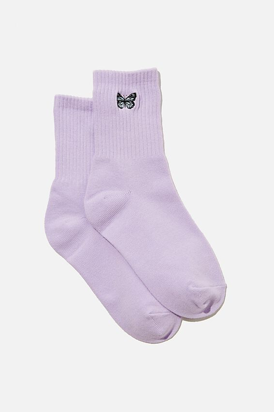 Butterfly Ribbed Sock, SWEET LILAC BUTTERFLY