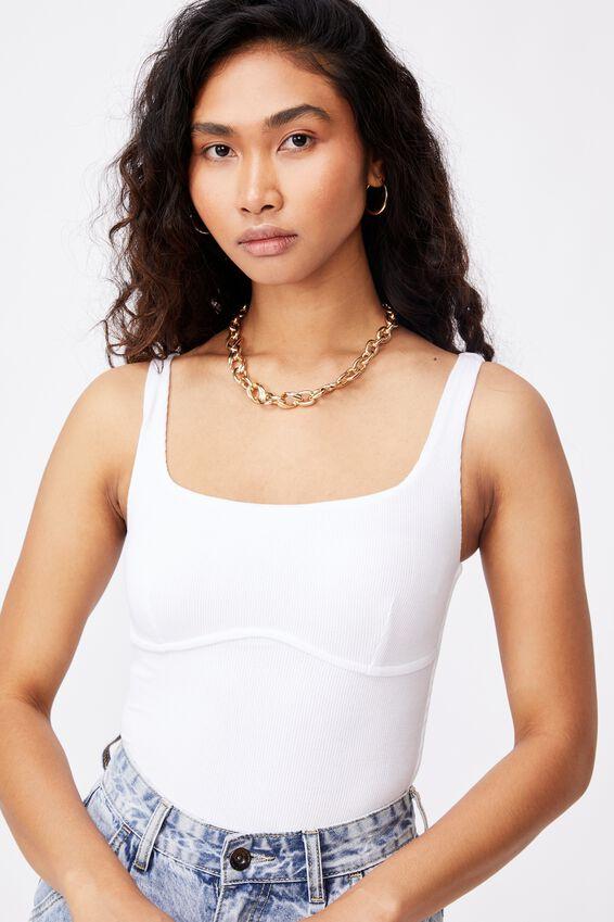 Gabrielle Rib Bodysuit, WHITE