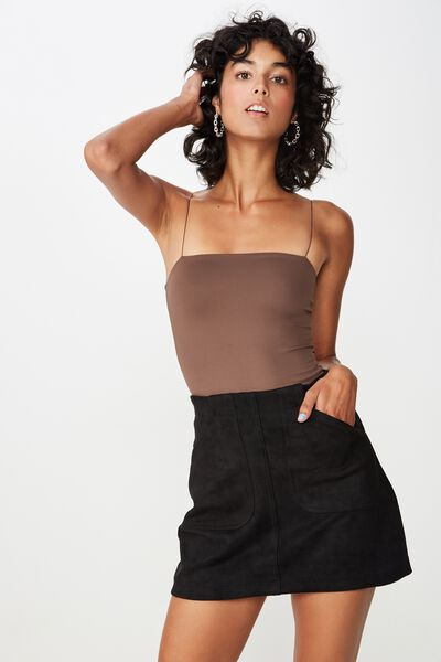 Luxe Elastic Strap Bodysuit, CHOCOLATE