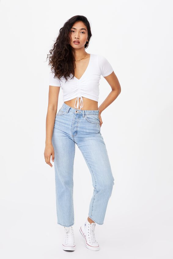 Jenny Gather Front Top, WHITE