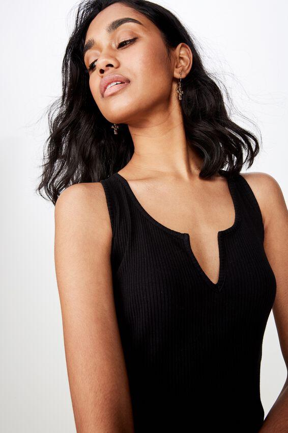 Edie Notch Rib Midi Dress, BLACK