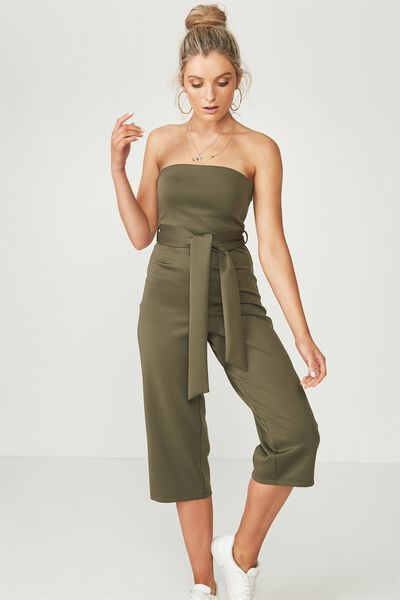 Fitted Strapless Jumpsuit, KHAKI