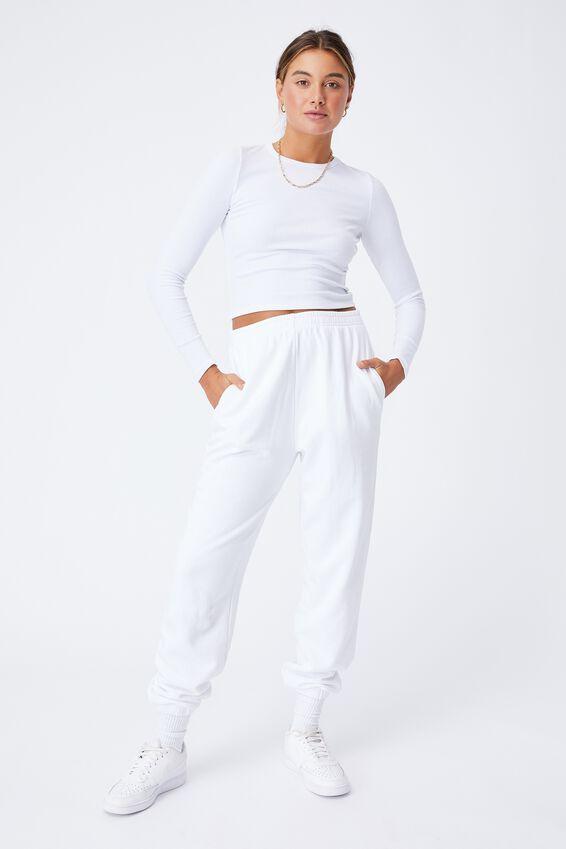 Aspen Long Sleeve Rib Top, WHITE