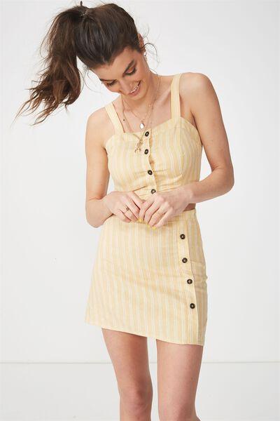 Lola Side Button Linen Blend Skirt, HONEY STRIPE