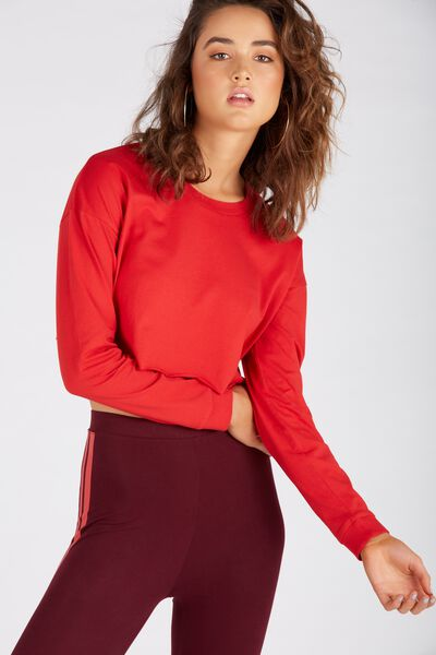 Long Sleeve Super Crop Cuff Tee, RED