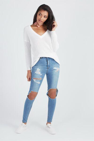 The Ultra Destroyed Denim Jean, BLUE