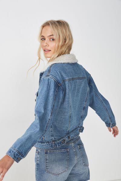80S Faux Shearling Denim Jacket, ORIGINAL BLUE NEW