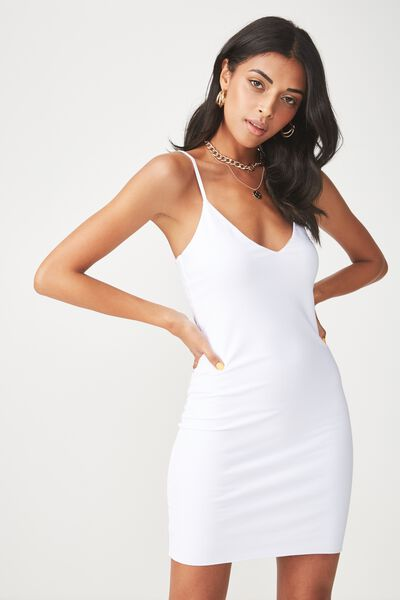 Deep V Double Layer Mini Dress, WHITE