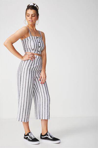 Crop Wide Leg Linen Pant, SAHARA WHITE/BLACK STRIPE