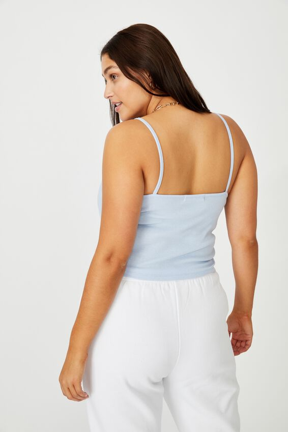 Cherub Embroidered Rib Tank, BLUE PETAL/CHERUB