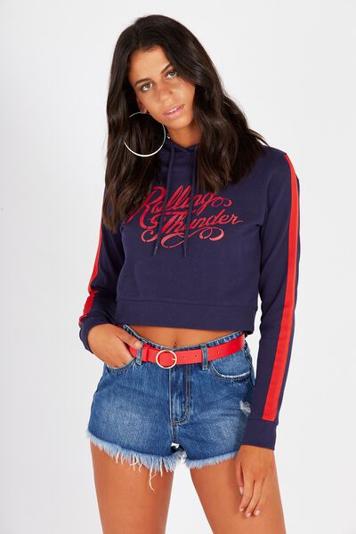 Graphic Cropped Hoodie, NAVY/THUNDER