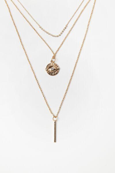 Eye Layered Necklace Set, GOLD