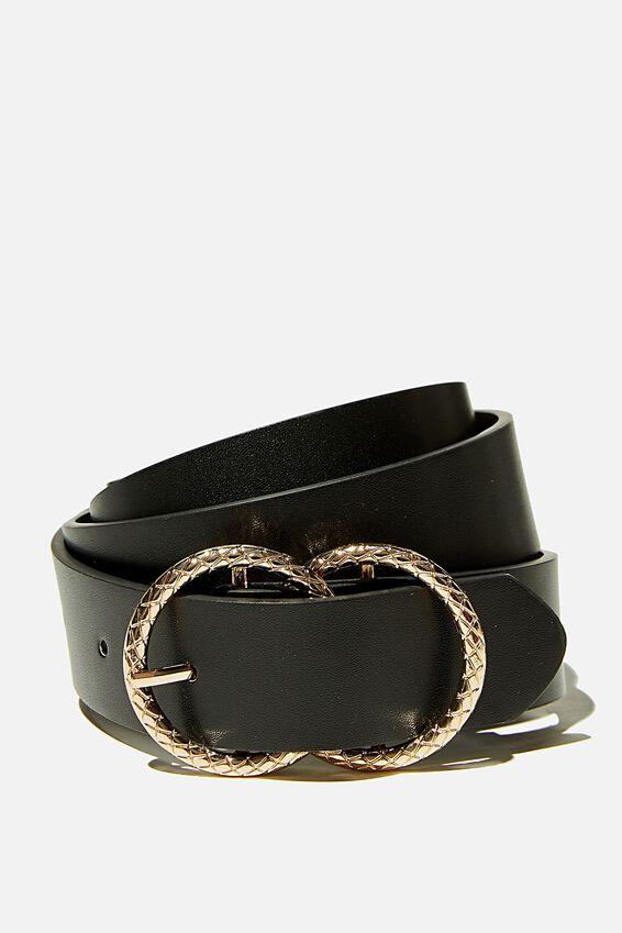 Double Hoop Textured Belt, BLACK GOLD