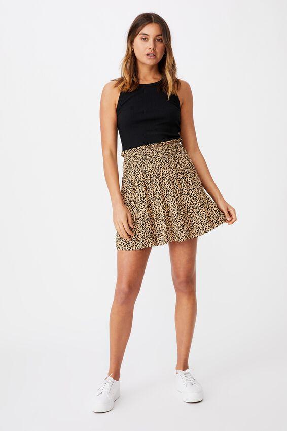 Ariana Shirred Waist Mini Skirt, SAHARA SAND LEOPARD PRINT
