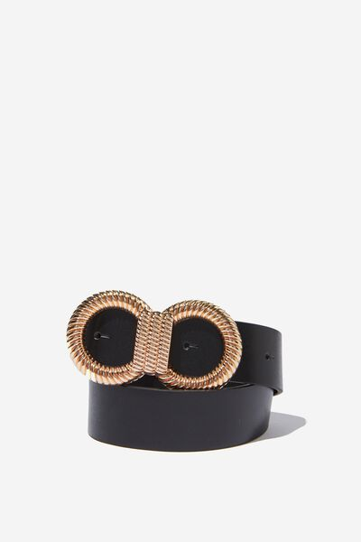 Twist Double Circle Belt, BLACK/GOLD