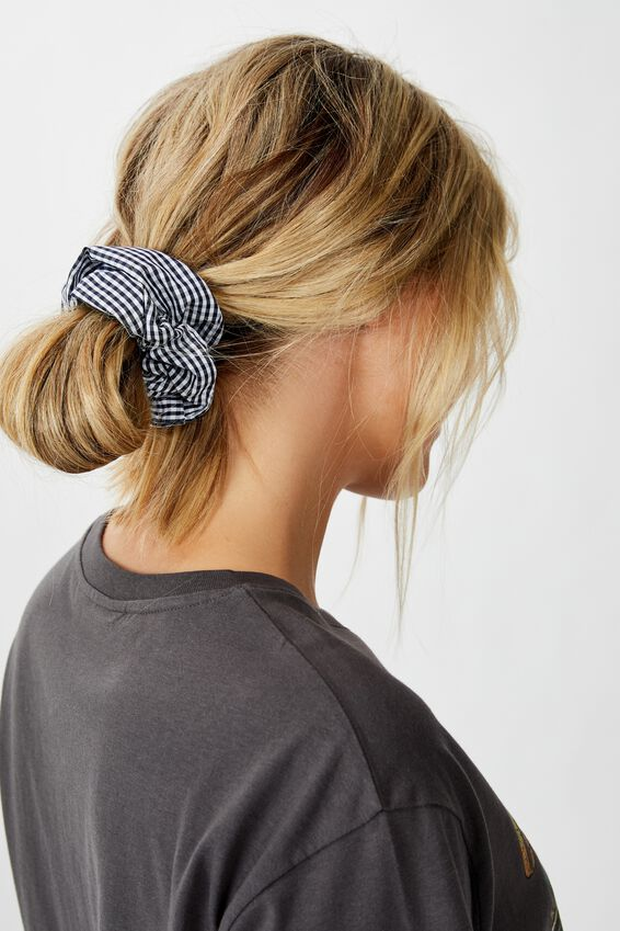 Gingham Scrunchie, NAVY