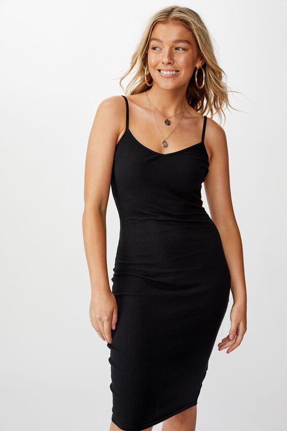 Serena V Neck Midi Dress, BLACK