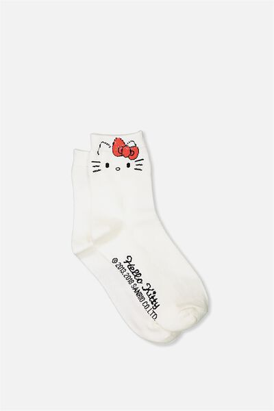 Hello Kitty Ankle Socks, WHITE KITTY